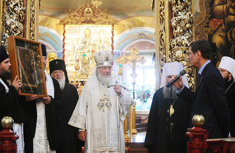 Чудотворная икона «Спас Вседержитель» передана на временное хранение в Спасо-Елеазаровский монастырь (ВИДЕО)