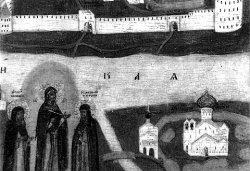Мирожский монастырь. Изображение на иконе Жиглевича. XVII в. Фрагмент
