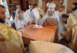 Освящение Престола в храме иконы Божией Матери Всех скорбящих Радость поселка Красный Луч, 28 июня 2015 года