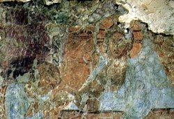 Рис. 32. Евхаристия. Фрагмент фрески из храма Покрова Богородицы в Довмонтовом городе г.Псков