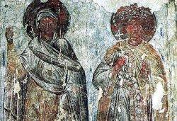 Рис. 36. Две фигуры мучеников в рост. Фрагмент фрески из храма Покрова Богородицы в Довмонтовом городе г.Псков