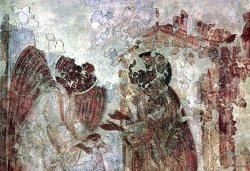 Рис. 38. Жертвоприношение. Фрагмент фрески из храма Покрова Богородицы в Довмонтовом городе г.Псков