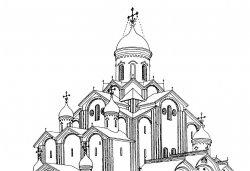 Троицкий собор в 1467 году после смены покрытий криволинейных на прямоскатные - неизвестным мастером (переделывателем крыш). Реконструкция Г.Я. Мокеева