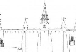 Перси Кромские с воротами по сторонам. Южный фасад. Реконструкция Г.Я. Мокеева