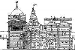 Гридница, сени над Великой рекой, терема, красное крыльцо на княжем дворе. Реконструкция Г.Я. Мокеева