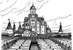 Тройцкий собор (северный фасад) и деревянные клети. Реконструкция Г.Я. Мокеева