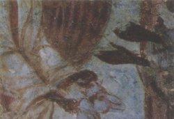 Рис. 14. Явление ангела преподобному Симеону Дивногорцу. Роспись южной стены церкви Рождества Христова в Довмонтовом городе. Деталь. ГЭ