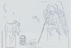 Рис. 15. Жертвоприношение Гедеона. Роспись церкви Архангелов в Прилепе. 1270-1280-е гг. Прорись (по С.Габелич)