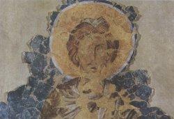 Рис. 2. Пророк Моисей. Фрагмент росписи церкви Рождества Христова в Довмонтовом городе. ГЭ