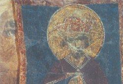 Рис. 3. Пророк Моисей. Роспись церкви Рождества Христова на Красном поле близ Новгорода. Конец XIV в. Деталь